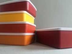 TUPPERWARE Sandwich Container Maroon Red Orange Yellow NOS New Old Stock Set of Five Made in the USA by BROCANTEBedStuy on Etsy