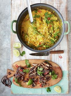 Jamie Oliver recipe- Thai Chicken Laksa. Great laksa base recipe, could use prawns instead of chicken. Easy week day dish, and left overs would taste amazing the next day.  From Jamie's 15minute meals
