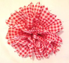 Gingham flowers red white check vinyl flowers by ilPiccoloGiardino