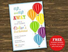 Hot Air Balloon Birthday Invitation  Rainbow   by SweetGumdrop, $15.00
