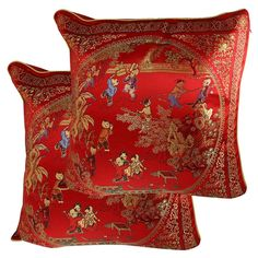 Chinese Embroidery Courtyard Scene Pattern Cushion Throw Toss Pillow Cover 2 Pcs: Amazon.co.uk: Kitchen & Home