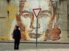 man wall graffiti meditative third eye street