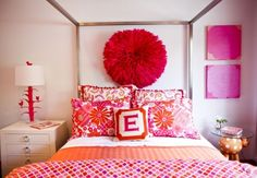 Pink & Orange Bedroom...if only Brad would let me do this!