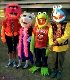Muppets - 2013 Halloween Costume Contest via @costumeworks  I am a Big Muppet fan so are my kids , heads all handmade feathers, glue ,fleece,Styrofoam balls,faux fur ,sandwich bags and paint all on top of bike helmets