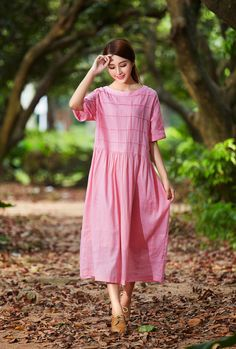Pink Maxi Dress Maxi Linen Dress Plaid Dress Oversized