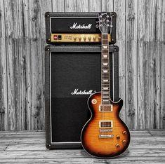 Gibson Les Paul Standard and Marshall JCM 800 stack Guitar Amp, Cool Guitar, Acoustic Guitar, Guitar Photos, Les Paul Custom, Les Paul Standard, Gibson Guitars, Gibson Les Paul, Classic Rock