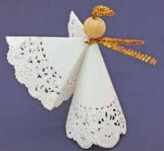 Make this easy angel crafts doily paper angel faster than it takes to read the instructions. The fun and easy project only needs two paper doilies, a wooden bead, a chenille wire and some tape. Paper Doily Crafts, Doilies Crafts, Paper Doilies, Paper Lace, Christmas Angel Decorations, Christmas Crafts For Kids, Xmas Crafts, Christmas Angels, July Crafts