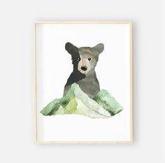 Brody's Bear & Mountain Adventure Woodland Digital Nursery Art Set – Baby Nursery Boy – Baby Shop Woodland Nursery Boy, Bear Nursery, Animal Nursery, Boy Nursery Art, Nursery Collage, Nursery Artwork, Baby Boy Rooms, Baby Boy Nurseries, Baby Room Art
