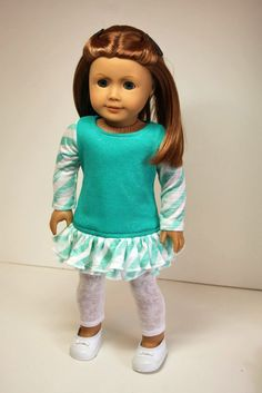 Seafoam green dress and leggings by sewurbandesigns. Made with the LJC Leggings pattern, found here http://www.pixiefaire.com/products/leggings-18-doll-clothes. #pixiefaire #libertyjane #leggings