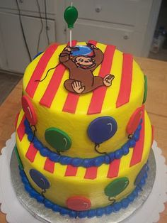 """Here is a cake I made for a friend's son's birthday today! As you can tell, the theme was """"Curiuos George!"""" I had a blast making it a. Curious George Cakes, Curious George Party, Curious George Birthday, 3rd Birthday, Birthday Parties, Birthday Ideas, Birthday Cakes, Having A Blast, First Birthdays"""