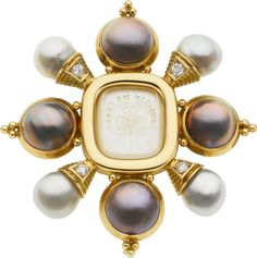 South Sea Cultured Pearl, Mabe Pearl, Diamond, Gold Brooch,  By Elizabeth Gage.