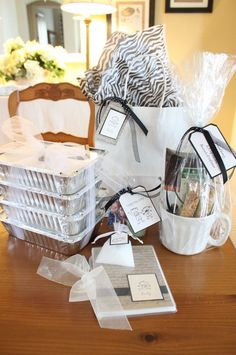 gifts for the new mom: caffeine, something for the siblings, pampering products, a meal....good idea basket