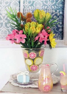 Summer Floral Bouquet in CITRUS Lined Glass Vase by OneSixthSense, $25.00
