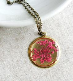 Pressed Pink Queen Anne's Lace Flower Necklace