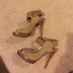 Michael Shannon leather suede heels Very sexy heels. Leather upper. Worn a handful of times. Great condition. Michael Shannnon Shoes Heels
