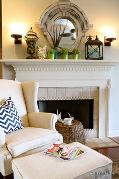 love this for our bedroom -- beautiful mantle and chair with ottoman..  So cozy