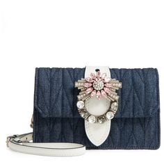 Women's Miu Miu Matelasse Denim Embellished Shoulder Bag (€1.265) ❤ liked on Polyvore featuring bags, handbags, shoulder bags, denim handbags, miu miu shoulder bag, white purse, white shoulder handbags and sparkly purses