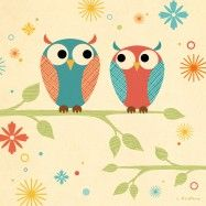 Coral and Blue Owls on a Branch