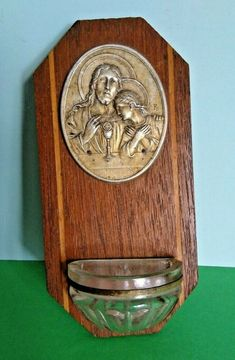 Vintage French Wooden Benetier Font Sacred Heart Religious Christianity  A1171 Tunbridge Wells, Vintage Fonts, Sacred Heart, Crucifix, French Vintage, Jesus Christ, Christianity, Catholic, Religion