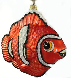 Larry Fraga Designs-Clown Fish - hand painted, mouth blown glass ornament. LarryFragadesigns.com