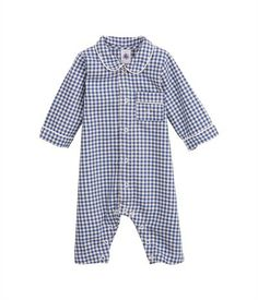 Combinaison longue bébé garçon imprimée vichy blanc Lait / bleu Newbleu - Petit Bateau