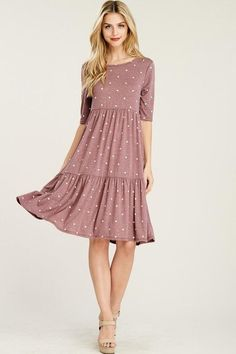 Dusty Rose Polka Dot Tiered Swing Dress - Dusty Rose Polka Dot Baby Doll Swingy Dress Source by lshe - Modest Dresses Casual, Dresses For Teens, Cute Dresses, Fall Dresses, Church Dresses, Modest Clothing, Pink Dress Casual, Gothic Clothing, Dress Black