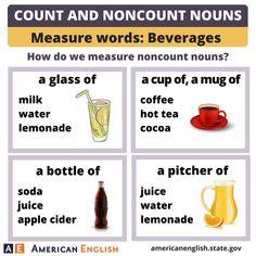 Count and Noncount Nouns - Measure words: Beverages