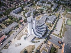 "These Churches Are the Unrecognized Architecture of Poland's Anti-Communist ""Solidarity"" Movement,© Igor Snopek Church Architecture, Religious Architecture, Futuristic Architecture, Amazing Architecture, Poland History, Modern Church, Church Building, Postmodernism, Temples"