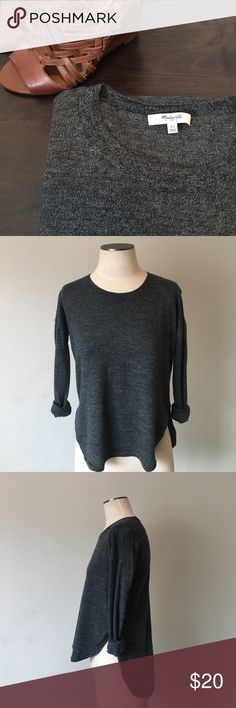 """Madewell- Merino Wool Charcoal Grey Hi-Lo Sweater Madewell- Merino Wool Charcoal Grey Hi-Lo Sweater. Soft and light. Circle hem. Front measures 22"""" from shoulder to bottom; back measures 25.5"""" from shoulder to hem. No holes, rips, stains, etc. great condition! Size XS. Madewell Sweaters"""