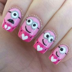 Nails, Romantic Valentine Nail Art - Many cute designs you can wear all year, love the minions! Love Nails, Pink Nails, Pretty Nails, Style Nails, Nail Art Minion, Valentine Nail Art, Minion Valentine, Nails For Kids, Manicure E Pedicure
