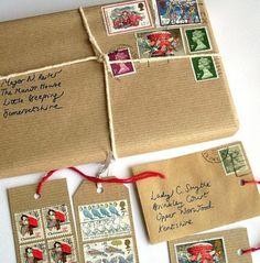 Stamps on gift labels - Briefmarken auf Geschenkanhänger Auch viele andere schöne Ideen!