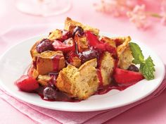 Enjoy this baked French toast topped with berries.