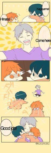 Sugamama and sons hinata and kageyama Manga Haikyuu, Haikyuu Karasuno, Haikyuu Funny, Haikyuu Fanart, Nishinoya, Anime Chibi, 5 Anime, Anime Comics, Anime Boys
