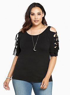 Plus Size Cold Shoulder Lace Up Top, DEEP BLACK
