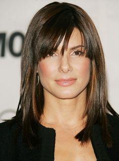 medium hair side bangs | Medium Straight Hairstyle with Side Swept Bangs 2013
