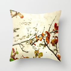 grape leaf branch on the beach Throw Pillow