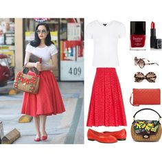 Pinup Fashion: Dita White Tee and Red Lace Skirt Outfit by ashliabelle on Polyvore featuring Topshop, Eric Javits, Cutler and Gross, NARS Cosmetics, Butter London, Dita Von Teese and vintage