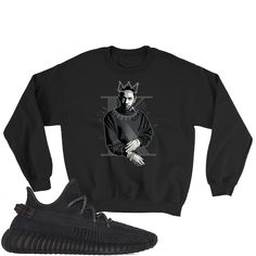 Yeezy Boost 350 Black Sweatshirt Yeezy Boost 350 Black, Kendrick Lamar, Trending Outfits, Sweatshirts, Jet, Crew Neck, Chart, Fabric, Products