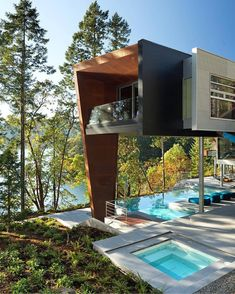 An #Infinity pool with a view!  The Gulf Islands Residence Designed by AA Robins