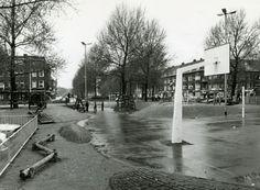 Het Van 't Hoffplein, gezien vanaf de speelplaats, in de richting van de Snelliussingel en de Swammerdamsingel. Links en rechts de Boerhaavelaan. 1977