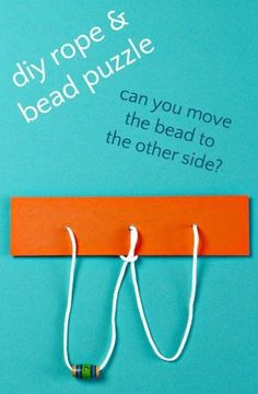 String and bead puzzle for problem solving. Good brain teaser boredom buster.