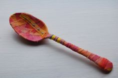 https://flic.kr/p/9yMFh7 | Refashioned object 3 | Mixed media spoon, bound with painted cotton fabric, thread and wool. Acrylic paints, glue, and hand stitching.