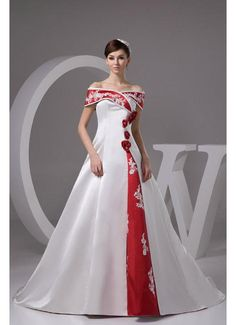 Wedding Dress Dresses Ball Gown Satin Off The Shoulder Empire Chapel Train Lace Up Short Sleeve Flowers Ivory Red