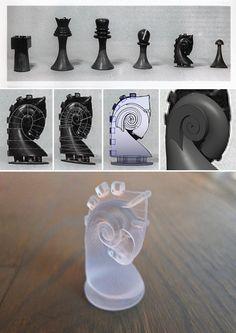 Marcel Duchamp's long lost chess set (knight): original - design plan - 3D printed