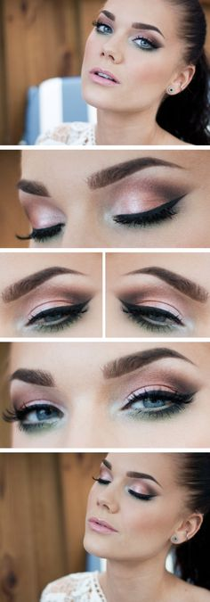 Satin eye look. Make sure if you use a color near your tear duct it is matte.