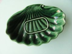 Vintage Soap Dish Hull Pottery F25 Green Agate 1960s by OldLikeUs
