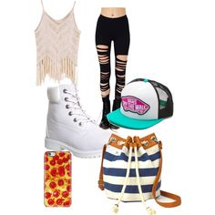 A fashion look from March 2015 featuring Timberland ankle booties, Arizona shoulder bags and Vans hats. Browse and shop related looks.