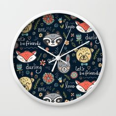 Forest Pals Wall Clock