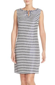 aa57ef8a2d6 Ellen Tracy Striped Shantung Sheath Dress with Embellished Neckline  (Regular  amp  Petite) available