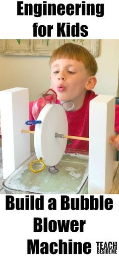 Want an engineering project for your kids that rocks?! This bubble blower machine was a seriously fun project to make with my kids!! We all had a lot of fun figuring out that worked and didn't as well as playing with it at the end! Want to make one for yourself? Follow along to learn how! How to Make a Bubble Blower Machine Supples Needed: 2 Styrofoam Blocks (12 inches long) 1 Round Styrofoam Piece (8 inch diameter) 1 Wooden Dowel Pipe Cleaners or Wire 1 Large Pan Bubble Solution (You ca...